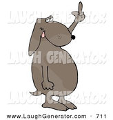 Humorous Clip Art of a Frustrated Dog Flipping off His Owner After Not Getting His Much Needed Daily Walk by Djart