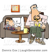 Humorous Clip Art of a Frustrated Psychiatrist Sitting Beside Sleeping Patient by Djart