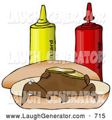 August 9th, 2013: Humorous Clip Art of a Funny Brown Wiener Dog Topped with Pickle Slices, Lying on His Back on a Hot Dog Bun Beside Ketchup and Mustard Bottles by Djart