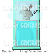 Humorous Clip Art of a Funny Dog Showering Himself While Wearing a Shower Cap by Djart