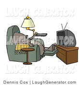 Humorous Clip Art of a Funny Dog Sitting in a Reclining Chair with a Beer, Changing TV Channels with Remote Controller by Djart