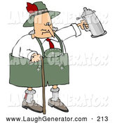 October 17th, 2013: Humorous Clip Art of a Funny Drunk Old Senior Man Walking with a Cane and Partying with a Beer Stein at Oktoberfest by Djart