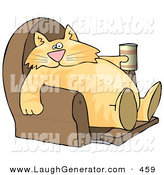 Humorous Clip Art of a Funny Human-like Ginger Cat Sitting on a Recliner Chair with a Can of Beer by Djart