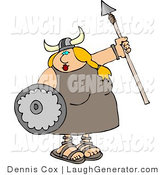 Humorous Clip Art of a Funny Viking Female Armed with a Spear and Shield by Djart