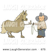 Humorous Clip Art of a Fussy and Angry Tan Horse Flipping off a Confused Cowboy Who Is Trying to Put a Lasso Around Him by Djart