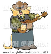Humorous Clip Art of a Ginger Anthropomorphic Cowboy Cat Playing Country Music on an Acoustic Guitar by Djart