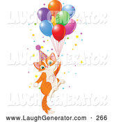 Humorous Clip Art of a Ginger Birthday Kitten Floating Away with Balloons and Confetti by Pushkin