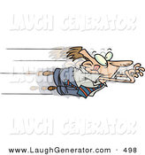 Humorous Clip Art of a Goofy Caucasian Business Man Leaping Excitedly Forward into Advancement by Toonaday