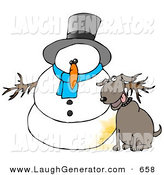 Humorous Clip Art of a Goofy Dog Peeing on a Snowman by Djart