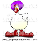 Humorous Clip Art of a Goofy White Farm Chicken Dressed As a Clown, Wearing Big Red Shoes, a Red Nose and a Purple Wig, on White by Djart
