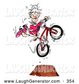 Humorous Clip Art of a Granny on a BMX Ramp by Spanky Art