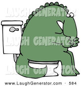 Humorous Clip Art of a Green Dinosaur Covering His Mouth or Nose While Sitting on a Toilet on White by Djart