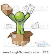 Humorous Clip Art of a Green Man Going Postal with Parcels and Mail by Leo Blanchette