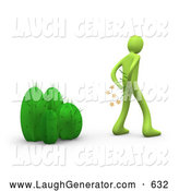 Humorous Clip Art of a Green Man Pulling Needles out of His Butt After Mistakenly Sitting on a Cactus Plant by 3poD