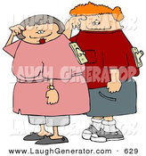 Humorous Clip Art of a Grinning Husband and Wife with on and off Switches Attached to Their Backs by Djart