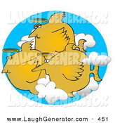 Humorous Clip Art of a Group of 3 Angel Fish with Halos Swimming in the Clouds by Djart