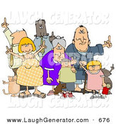 Humorous Clip Art of a Group of Angry People of All Ages and Mixed Ethnicities, Standing with a Dog and a Cat and Flipping People Off, on White by Djart