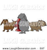 Humorous Clip Art of a Group of Brown and Gray Dogs Peeing on a Red Fire Hydrant by Djart
