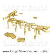 Humorous Clip Art of a Group of Gold Businessmen Playing Leapfrog with Their Briefcases Tossed Aside, Symbolizing Teamwork on White by 3poD
