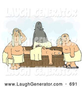 Humorous Clip Art of a Group of Hot Men Wrapped in Towels, Sweating in a Steam Sauna by Djart