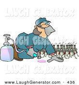 Humorous Clip Art of a Group of Humorous Bugs Watching a Pest Control Exterminator Test a Chemical Pesticide Substance by Djart