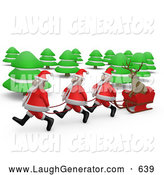 Humorous Clip Art of a Group of Three Santas Pulling a Reindeer Through the Woods in a Sleigh by 3poD