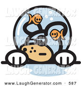 Humorous Clip Art of a Grumpy Caucasian Dog with Fish Making Fun of Him in a Fishbowl Stuck on His Head by Andy Nortnik
