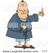 Humorous Clip Art of a Grumpy Unhappy Old Caucasian Man Leaning on a Cane and Flipping Someone the Bird by Djart
