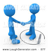 Humorous Clip Art of a Gullible Blue Person Shaking Hands on a Deal with Another Man As a Saw Cuts a Circle out from Under Him by 3poD