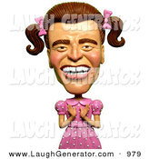 Humorous Clip Art of a Happy 3d Arnold Schwarzenegger As a Girly Man in a Pink Dress by Amy Vangsgard