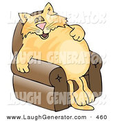 Humorous Clip Art of a Happy Anthropomorphic Cat Napping on a Recliner Chair by Djart