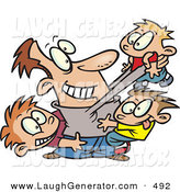 Humorous Clip Art of a Happy Caucasian Father Horse Playing with His Three Sons by Toonaday