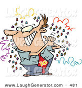 Humorous Clip Art of a Happy Caucasian Man Celebrating, Surrounded by Confetti by Toonaday