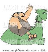 Humorous Clip Art of a Happy Caveman Sitting on a Resting Dinosaur, Holding the Reins and Waving by Djart