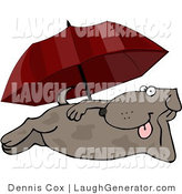 Humorous Clip Art of a Happy Dog Laying at the Beach Under an Umbrella in Summer by Djart