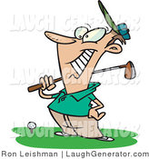 Humorous Clip Art of a Happy Golfer Man near a Ball, Holding His Golf Club by Toonaday