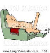 Humorous Clip Art of a Happy Old Caucasian Man with a Hardon, Sitting in a Chair and Wearing Only Socks by Djart