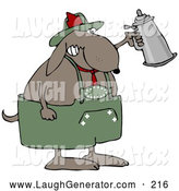 October 14th, 2013: Humorous Clip Art of a Happy Partying Dog Drinking a Beer from a Setin at Oktoberfest by Djart