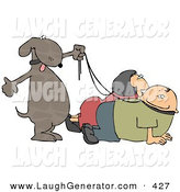 Humorous Clip Art of a Happy Pet Dog Walking His Owners on Leashes by Djart
