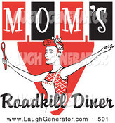 Humorous Clip Art of a Happy Red Haired Female in an Apron, Her Hair up in a Scarf, Singing and Dancing with a Spoon on a Red and Black Vintage Sign for Mom's Roadkill Diner by Andy Nortnik