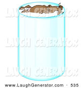 Humorous Clip Art of a Happy Relaxed Brown Cow with Horns, Leisurely Floating and Taking a Swim in a Tall Glass of Milk on White by Djart