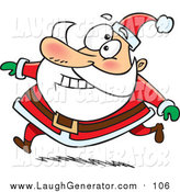 Humorous Clip Art of a Happy Santa Claus Grinning and Running in His Red Suit by Ron Leishman