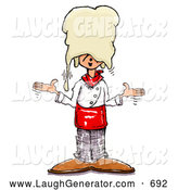 Humorous Clip Art of a Happy Silly Chef Shrugging After Accidentally Dropping Hand Tossed Pizza Dough on His Head by Spanky Art