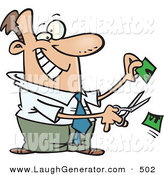 Humorous Clip Art of a Happy White Business Man Cutting Money in Half by Toonaday