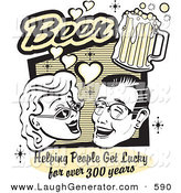 Humorous Clip Art of a Happy Woman and Man with Beer, Beer, Helping People Get Lucky for over 300 Years by Andy Nortnik