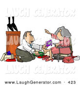 Humorous Clip Art of a Helpful Caucasian Shoe Salesman Helping an Elderly Woman Pick out a New Pair of Shoes by Djart
