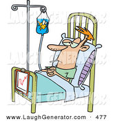 September 27th, 2012: Humorous Clip Art of a Hospital Patient in a Bed, a Fish Swimming in His IV Container by Toonaday
