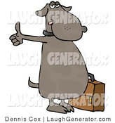 Humorous Clip Art of a Human-like Dog Going Hitchhiking for an Automobile Ride by Djart