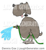 Humorous Clip Art of a Human-like Dog Watering Outdoor Plants with a Green Garden Hose by Djart