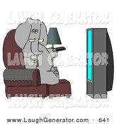 Humorous Clip Art of a Human-like Obese Elephant Watching TV and Drinking Beer by Djart
